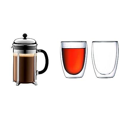 Bodum - 1932-16 - Chambord - Cafetière à Piston en Acier Chromé - 12 Tasses - 1,5 L + Set de 2 verres 35 cl