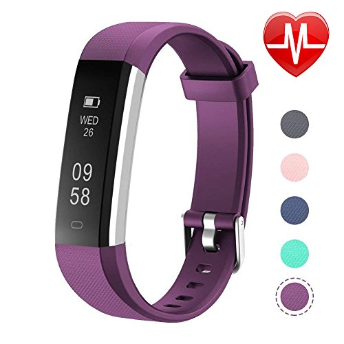 Letsfit Fitness Tracker with Heart Rate Monitor, Slim Activity Tracker Watch Pedometer Watch, Sleep Monitor, Step Counter, Calorie Counter, Waterproof Smart Band for Kids Women and Men (Purple)