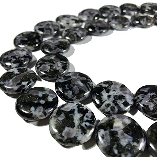 - [ABCgems] Rare Madagascan Black Tourmaline in Feldspar (Exquisite Matrix) 20mm Smooth Coin Beads For Jewelry Making