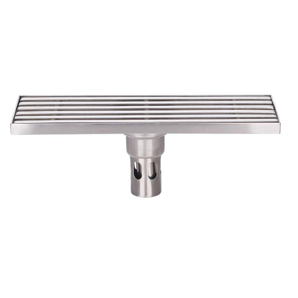 PEIQI Linear Shower Drain with Removable Cover Brushed 304 Stainless Steel Floor Drainer for Kitchen Washroom Garage and Basement,30Cm