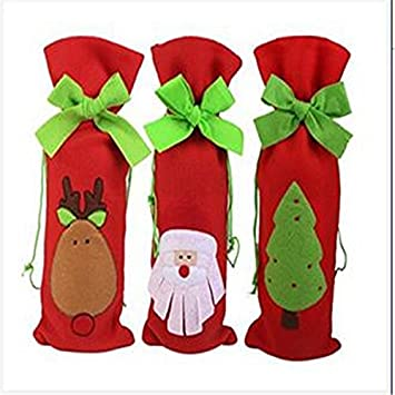 NiceButy Adornos navideños, portadores de botellas de vino de Santa, conjuntos de champán, bolsas de regalo: Amazon.es: Hogar