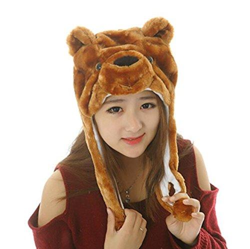 Dalino Creative Cute Cartoon Performance Headwear Plush Animal Headgear (Brown Bear) by Dalino