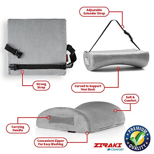 Lumbar Support Pillow Cushion, Memory Foam Soft & Firm to Protect & Soothe Lower Back, Pain Relief, Orthopedic, Velvet Washable Cover, Cool Gel, Adjustable Straps Ideal Gift Home Office Chair Car Seat by ZIRAKI (Image #3)
