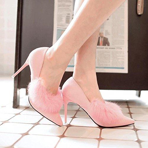 L@YC Damen High-Heeled Schuhe FrüHling Und Winter Kaninchen Kaninchen Plus Kaschmir Spitze Nachtclub BüRo Tanz Pink