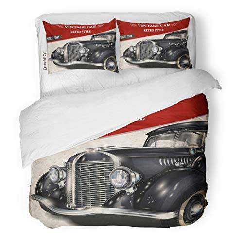 (Emvency Decor Duvet Cover Set King Size 1950S Vintage Car 1940S Antique Auto Retro 1930S 1960S Automobile 3 Piece Brushed Microfiber Fabric Print Bedding Set Cover)