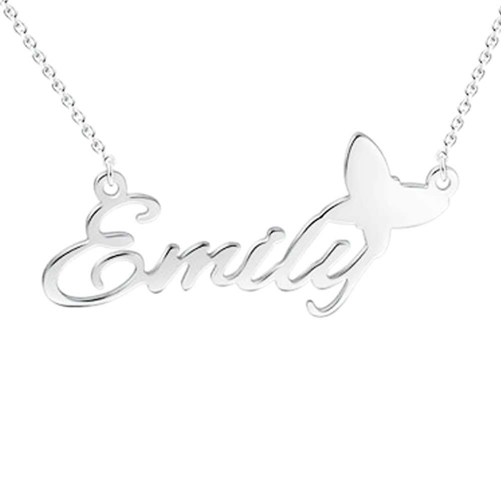 FUJIN 925 Sterling Silver Personalised Chic Name Necklace with Tiny Butterfly Customized Any Name