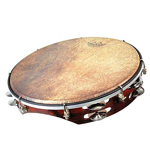 Remo 12''x2.5'' Key Tuned Skyndeep Tamburello Calabria Goat Brown Chrome Jingle