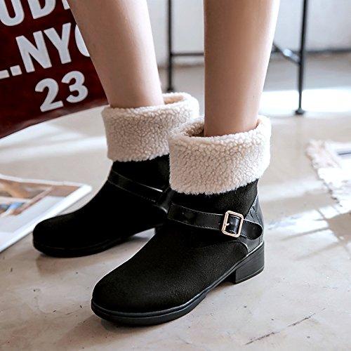 Show Shine Womens Buckles Tacco Grosso Tacco Snow Boots Nero