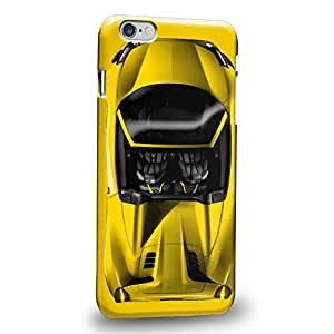 "Case88 Premium Designs Art Collections Hand Drawing Sport Car Yellow Carcasa/Funda dura para el Apple iPhone 6 Plus 5.5"""