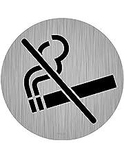 immi pictogram, bord Ø, roestvrijstalen look, 9,5 cm Niet roken (9,5 cm diameter).