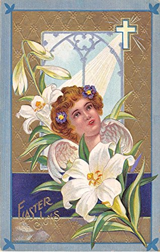 Easter Joys Woman With Angel Wings, Cross White Flowers Antique Postcard V7909