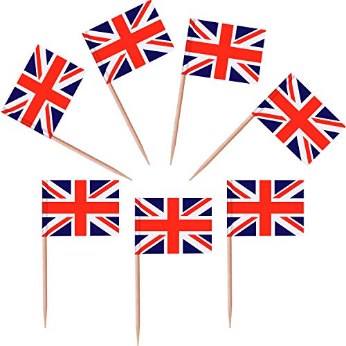 - Jovitec 100 Pieces British Flag Toothpicks the Union Jack Flag Cupcake Toppers for Birthday Wedding Baby Shower National Day