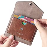 Borgasets Women's RFID Blocking Small Compact Bifold Leather Pocket Wallet Ladies Mini Purse (Gray)
