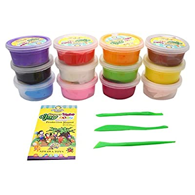 OVI 12 Color Super Light Clay Air Drying Soft Polymer Modelling Clay with Free Tools: Toys & Games