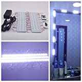 10FT White Dressing Makeup Mirror Lighted Cosmetic Vanity LED Light Dimmer Remote Power With Adhesive Tape Kit