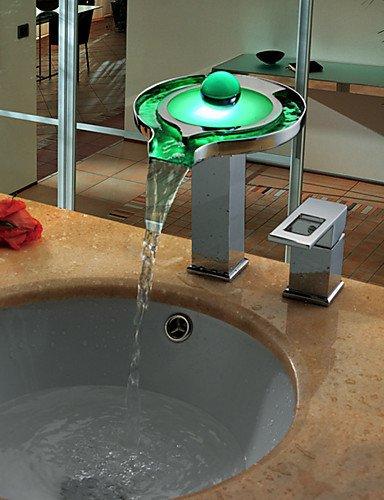 YanCui@ Home bathroom bathtub faucet Morden Chrome Brass Personalized Single Handle Two Holes LED Bathroom Sink Faucet Silver