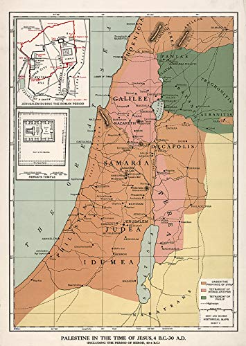 Riley Creative Solutions  Palestine in The time of Jesus, 4 BC - 30 AD Map Wall Art Poster (3 Sizes) (16