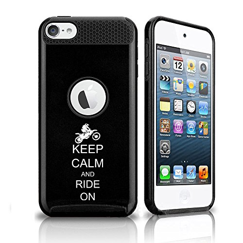For Apple iPod Touch 5th / 6th Shockproof Impact Hard Soft Case Cover Keep Calm and Ride On Dirt MX Motocross Bike (Black)