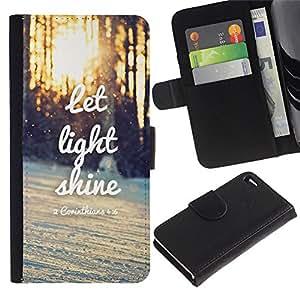 iKiki Tech / Cartera Funda Carcasa - Light Shine Sunset Quote Winter Sun - Apple iPhone 4 / 4S