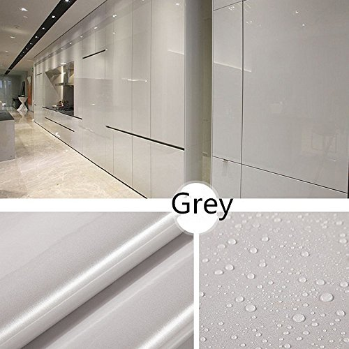 Gotian Shiny Self-Adhesive Tile Furniture Stickers Wall Decal Sticker DIY Wallpaper Home Kitchen Bathroom Decor - PVC Removable Refurbished 100x40cm (Grey)
