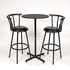Amazon Com Roundhill Furniture Nor Hill 3 Piece Black