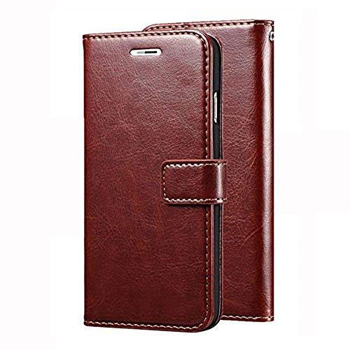 Mezmo Vintage Leather Wallet Flip Book Cover Case for Lenovo K5 Note   Brown
