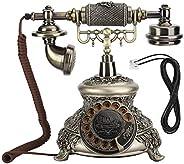 Longzhuo Teléfono Fijo Giratorio Retro, MS-5700D Resina Clásico Vintage Tocadiscos Dial Antiguo Rotación Teléf