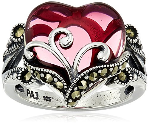 (Sterling Silver Oxidized Marcasite and Garnet Colored Glass Filigree Heart Ring, Size 7)