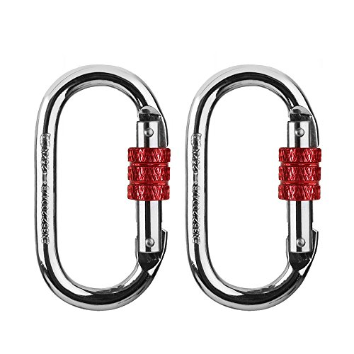 ArunnersTM Climbing Locking Carabiners Large Heavy Duty Screw D Ring Silver 2 pcs Large Double Action Knife