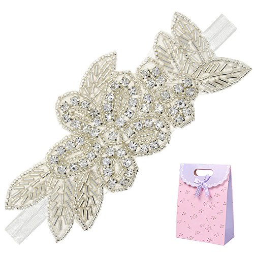 (Elesa Miracle Little Baby Girl Rhinestone Flower Headband, Baby Hair Accessories in Gift Bag (1pc- White Headband))