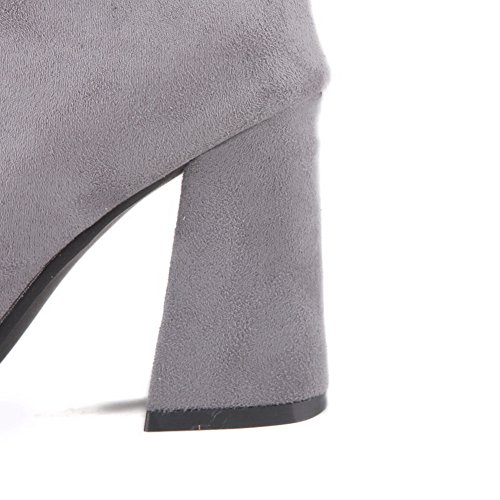 Gray BalaMasa Boots Pull Suede Boots Solid on Womens nHPxOS