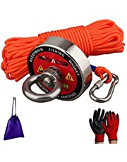 Mutuactor Fishing Magnets 400lbs Pull Force,Strong Retrieval Magnet N52 Neodymium Magnets with 20m(64 Foot) Durable Rope,Powerful Magnets for Fishing and Magnetic Recovery Salvage