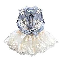 Jeleuon Kids Girls 2PCS Denim Vest+ White TUTU Lace Chiffon Skirt Dress