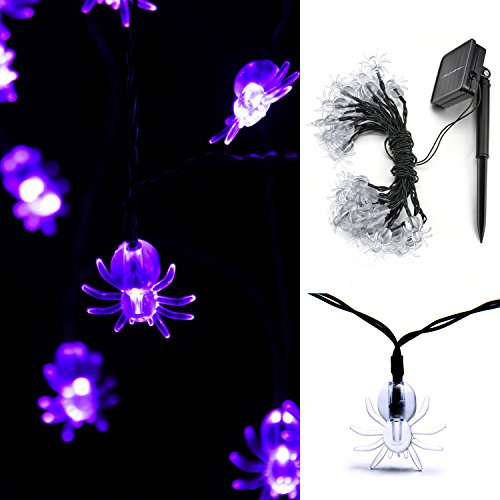 WEANAS Purple Spider Lights String, 20ft 30 LED Solar Powered Fairy String Lights with Remote, Decorative Lights for Indoor/Outdoor, Halloween, Cool Party, Surprising (Outdoor Halloween Decorations Sale)