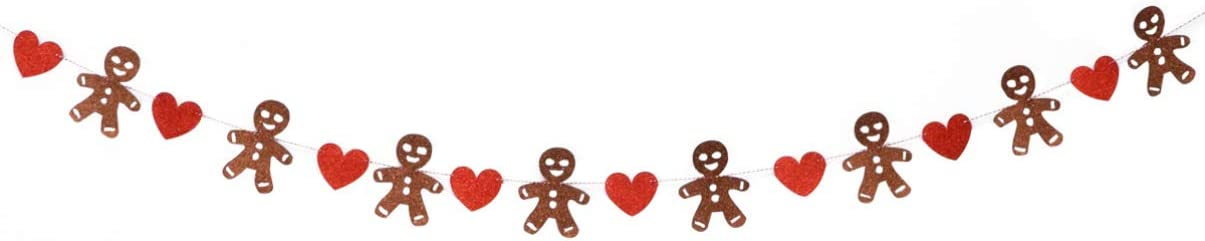 Garneck Christmas Bunting Banner Gingerbread Men and Red Hearts Christmas Bunting Glitter Christmas Party Bunting Decoration Hanging Banner for Home Party Holiday