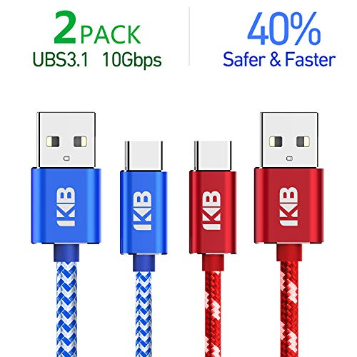 KB USB Certified USB Type C Cable,Fast Charging(USB 3.1),USB A to USB C Charger cable(3.3ft/2pack),10Gbps Gen2,Nylon Braided Armor Cord for Galaxy S9 S8 Plus Note8,LG V30 G6, Pixel XL, Nintendo Switch
