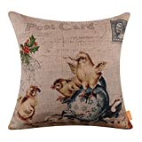 "LINKWELL 18""x18"" Happy Easter Spring Shabby Chic Collection Season Decoration Chick Easter Egg Burlap Cushion Covers Pillow Case"