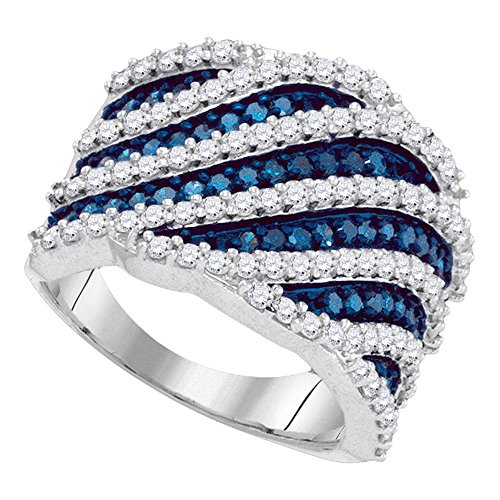 Diagonal Stripes Ring (Roy Rose Jewelry 10K White Gold Ladies Blue Colored Diamond Diagonal Stripe Cocktail Ring 1-7/8 Carat tw ~ Size 7)