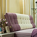 FLHSLY Bedside fight color bedside soft package cushion s-shaped surface protect the waist pillow wall back pad , purple , 1.5m