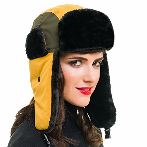 MELIFLUOS DESIGNED IN SPAIN Trapper Bomber Hat for Men and Women Russian Warm Fur for Ski Winter Hunting (Yellow ()