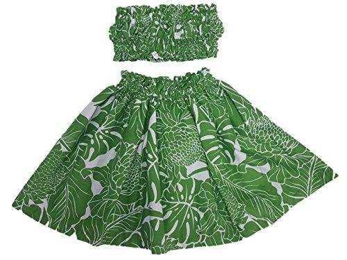 [Hula Girl Outfit Costume Hawaiian Polynesian Print (4T-5T, Green Protea)] (Polynesian Girl Costume)