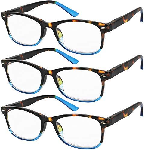 Reading Glasses Set of 3 Great Value Spring Hinge Readers Men and Women Glasses for Reading ()