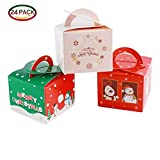 Mobengo 24 Pieces Christmas Gift Boxes Candy Boxes Party Favor Christmas Eve Box Xmas Party Bags Gift 3 Cute Styles