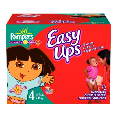 Pampers Easy Ups Trainers for Girls, Size 2T-3T, 72 Count
