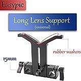 Easypic 15mm Lens Support Universal Adjustable Trimmer Knob Adjustable Bracket Height Adjustable with 15mm Dual Rod Clamp for Long Telescope Lens(94mm)