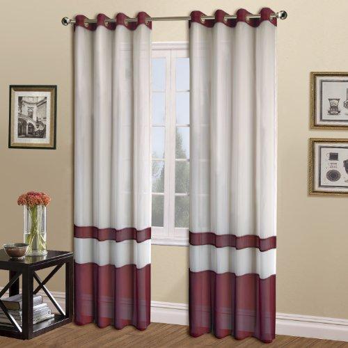 United Curtain Milan Sheer Window Curtain Panel, 54 by 63-Inch, Burgundy