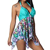 2019 Women's Summer & Spring Casual Hollow Out Sleeve Print Beach Style Mini Dresses S-2XL (Blue, M)
