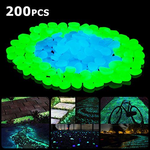 SUNNEST Glow in The Dark Pebbles, Glow Decorative Stones Rocks, Luminous Pebbles for Outdoor Decor, Garden Lawn Yard, Aquarium, Walkway, Fish Tank, Pathway, Driveway(200PCS) (Blue&Green) (Patio Diy Pebble Stone)