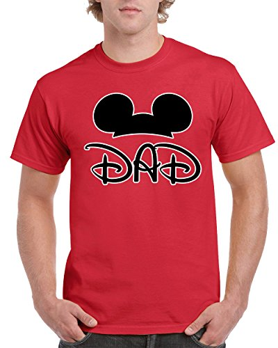 Mickey Dad Family Love Disney Children Men's T-Shirts Round NeckTee Shirts for Men(Red,X-Large) (Disney Clothing For Adults)