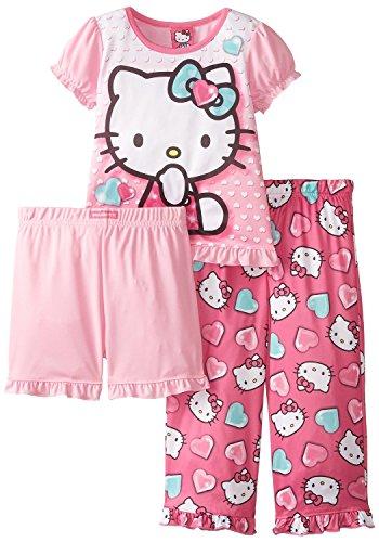 Hello Kitty Little Girls' Turquoise Hearts 3-Piece Pajama Set, Multi, 3T